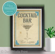 Blue Lagoon Bar Sign Print