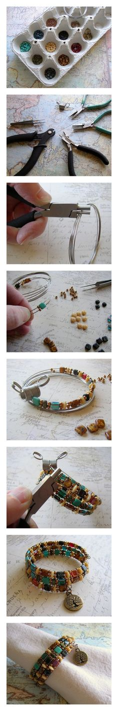 DIY Beaded Bracelet! Use memory wire, Czechmates two-hole beads, and a TierraCast charm to make this easy jewelry project. Free instructions on Rings & Things jewelry making blog. #jewelrymakingbeads #jewelrymakingwire