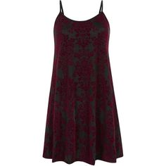 Misumi Burgundy Baroque Print Velvet Swing Dress ($12) ❤ liked on Polyvore featuring dresses, tent dress, scoop neck dress, purple dress, velvet swing dress and strap dress
