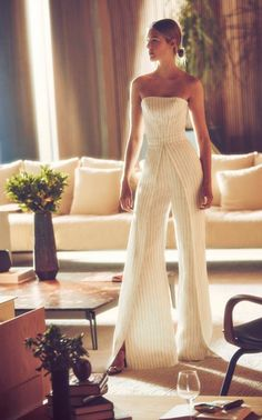 Charlize Strapless Pinstriped Linen Jumpsuit by ALEXIS Now Available on Moda Operandi Formal Jumpsuit, White Jumpsuit, Wedding Jumpsuit, White Romper, Jumpsuit Outfit, Mode Chic, Satin Gown, How To Pose, Feminine Style