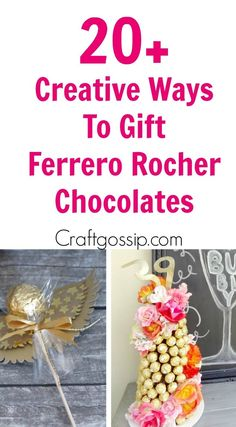 This round up shows you creative ways to gift Ferrero Rocher chocolates. We have covered how to make trees, Christmas tree's cakes and even Ferrero Rocher Angels. These are such fun way to gi… Ferrero Chocolate, Chocolate Tree, Chocolate Bouquet, Chocolate Gifts, Hot Chocolate, Christmas Candy Crafts, Christmas Gifts, Christmas Decor, Christmas Ideas