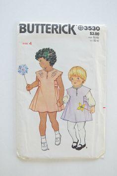 Vintage 1970s UNCUT Butterick Sewing Pattern 3530 Childrens Girls Dress or Jumper Size 4 di angelpress su Etsy https://www.etsy.com/it/listing/215032889/vintage-1970s-uncut-butterick-sewing
