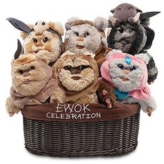 """Ewok Celebration Limited Edition Plush Set - Star Wars Kaink is making his product debut in this Ewok Celebration Limited Edition Plush Set. Basket features embroidered fabric liner reading """"Ewok Celebration,"""" plus net and satin ribbon bow. Ewok, Chewbacca, Star Wars Gifts, Disney Star Wars, Disney Marvel, Baby Disney, Disney Nursery, Disney Cars, Love Stars"""