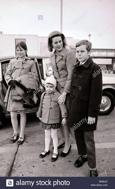 Download this stock image: Princess Grace of Monaco meets her children Prince Albert 11 and Princess Caroline 12 and Princess Stephanie 4 at Heathrow Airport The 3 children flew in from Nice March 1969 - B5B0JD from Alamy's library of millions of high resolution stock photos, illustrations and vectors.
