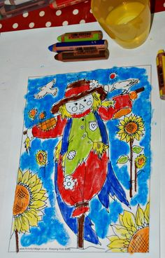 Activity village scarecrow colouring page using STABILO woody pencils with water gives a great watercolour painting effect. An easy art activity to do around Harvest time / autumn Autumn Crafts, Fall Crafts For Kids, Art For Kids, The Scarecrows Wedding, Simple Art, Easy Art, Activity Village, Different Types Of Painting, Art Activities For Toddlers