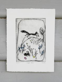 original etching FLEET FOX limited edition drypoint etching by Wendy McDonald