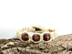 Hemp Beaded Bracelet Thick Hemp Wood Beads by SpicerLeatherworks