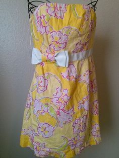 LILLY PULITZER Yellow & Pink Flower Strapless Cotton Dress Casual Flirty sz 6 #LillyPulitzer #TeaDress #Casual