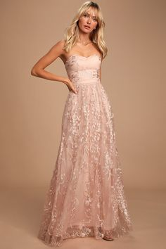 Be queen for the day in the Lulus Andria Blush Pink Embroidered Strapless Maxi Dress! Chic, strapless lace maxi dress with sweetheart neckline. Sequin Maxi, Lace Maxi, Floral Maxi Dress, Pink Maxi, Dress Lace, White Dress, Strapless Sweetheart Neckline, Strapless Maxi, Strapless Dress Formal
