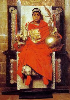 """The Western Roman Emperor Honorius"" Jean-Paul Laurens 1880. (Co-Emperor, I think?) ""Honorius became Augustus on 23 January 393, at the age of eight."" - Wikipedia"