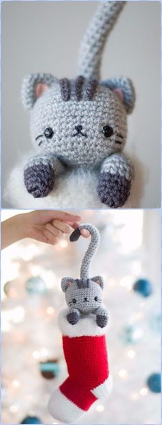 Crochet Curious Christmas Cat Free Pattern - Amigurumi Crochet Christmas Softies Toys Free Patterns