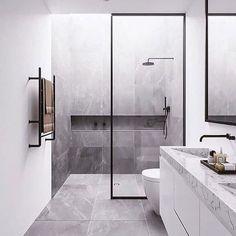 Minimal Interior Design Inspiration, modern bathroom design with modern shower, neutral gray bathroom decor Bathroom Design Luxury, Bathroom Layout, Modern Bathroom Design, Bathroom Ideas, Bathroom Inspo, Minimalist Bathroom Design, Bathroom Vanities, Bathroom Renovations, Luxury Bathrooms
