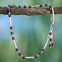 Garnet anklet, 'Coquette' by Ritu Silver Anklets, Beaded Anklets, Anklet Jewelry, Silver Beads, Anklet Bracelet, Silver Ring, Bracelets, I Love Jewelry, Charm Jewelry