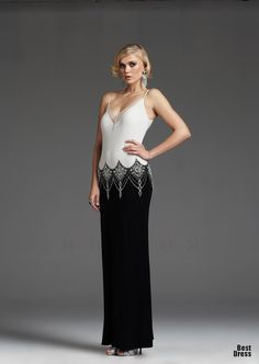 b1460068aa38 Elegant art deco black and white gown. V-neck contrast dress with spaghetti  straps