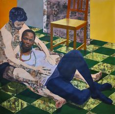 Njideka Akunyili Crosby Cradle Your Conquest 2012 Acrylic, collage, pastel, color pencil and xerox transfer on paper African American Artist, American Artists, Illustrations, Illustration Art, Collages, Figurative Kunst, Renaissance Artists, Harlem Renaissance, Bokashi