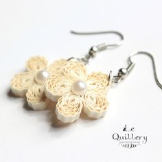 Cream Flower Filigree Earrings - Handmade Paper Quilling Jewelry - First Anniversary Gift