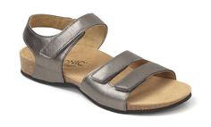 ada370ee205 Vionic by Orthaheel Valencia Orthotic Leather Pewter Sandals Size 9  Vionic   Valencia Pewter Sandals