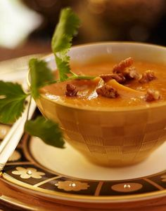 Roasted Pumpkin Soup with Spiced Pecans (Recipes - Traditional Home)