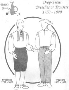 Tailor's Guide #122, 1750-1820 Drop-Front Breeches or Trousers Pattern