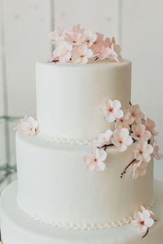 Adorable, simple, elegant cherry blossom cake. Add grey ribbons and/or a grey bow.