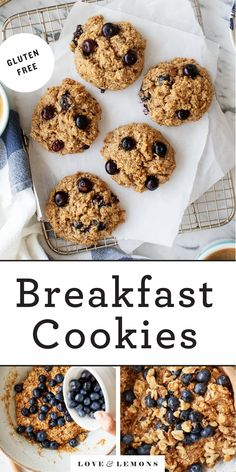 Quinoa Oatmeal, Healthy Oatmeal Breakfast, Oatmeal Breakfast Cookies, Breakfast Cookie Recipe, Cookie Recipes, Breakfast Ideas, Oatmeal Bars, Breakfast Recipes, Blueberry Cookies