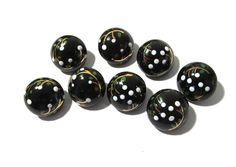 Hand Painted Black Glass Buttons West Germany VINTAGE Buttons Eight (8) Hand Painted Floral Vintage Buttons Jewelry Sewing Supplies (R35) by punksrus on Etsy