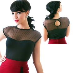 Look like the perfect pinup in this top!  This darling top has a sheer polka dot high neckline with a black bottom half!