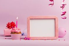Sprinkle over the gift box; balloons and muffins with lighted candle on pink backdrop Photo My Birthday Images, Happy Birthday Frame, Son Birthday Quotes, Birthday Frames, Happy Birthday Candles, Happy Birthday Greetings, 1st Birthday Girls, Sister Birthday, Cake Background