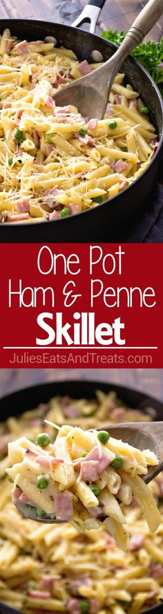 One Pot Ham & Penne Skillet Recipe ~ Delicious Pasta Perfect for a Quick Dinner! Loaded with Ham, Penne and Peas! ~ https://www.julieseatsandtreats.com