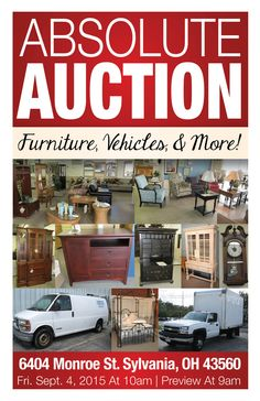 ABSOLUTE AUCTION!  Friday, Sept. 4, 2015 at 10:00 am Preview at 9:00 am 6404 Monroe Street, Sylvania, Ohio 43560  View More Info Online at www.pamelaroseauction.com or call (419) 865-1224  Pamela Rose Auction Co. LLC #PamelaRoseAuction