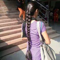 Saree Hairstyles, Indian Hairstyles, Braided Hairstyles, Long Silky Hair, Long Black Hair, Beautiful Braids, Beautiful Long Hair, Indian Long Hair Braid, Dehati Girl Photo
