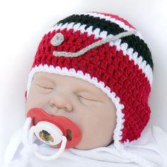 Baby Boy Hockey Hat & Chicago Blackhawks NHL Logo Pacifier