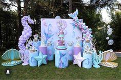 Mermaid Birthday Party Decorations Diy, Shark Party Decorations, 1st Birthday Party For Girls, Elsa Birthday, Mermaid Theme Birthday, Little Mermaid Birthday, Flamingo Birthday, Mermaid Parties, Birthday Party Themes