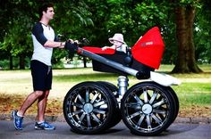 Finally, a MAN'S pram! JUST in time for a right royal stint, Skoda has revealed the king of prams: the RS Mega Man-Pram; a giant baby pram that features in an ad campaign for the new Octavia RS performance models. Baby Kostüm, Baby Kids, Dad Baby, Baby Buggy, Montage Photo, Baby Prams, Baby Carriage, Mega Man, Laugh Out Loud