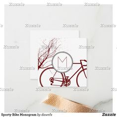 Sporty Bike Monogram Note Card Custom Stationary, Custom Cards, Blank Cards, Zazzle Invitations, Artwork Design, Paper Texture, Smudging, Note Cards, Monogram