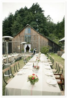 I love the idea of having wedding reception in large yard outside of a barn. Just have to have backup plan if mother nature decides we need a rain.
