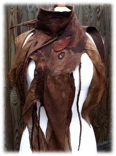 Dark Woodland Brown Tattered Scarf  Pixie belt by folkowl on Etsy, $60.00