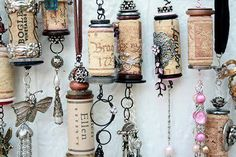 "Clever reuse (trendy keyword upcycle"") of wine corks.  Could be used as pull cords for lamps/fans or perhaps windchimes?"