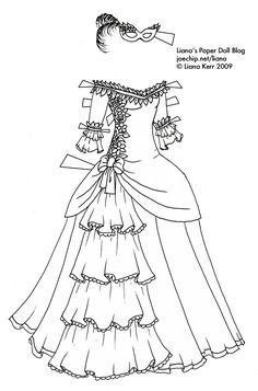 old fashioned halloween coloring pages | Ball gown coloring page for girls, printable free ...