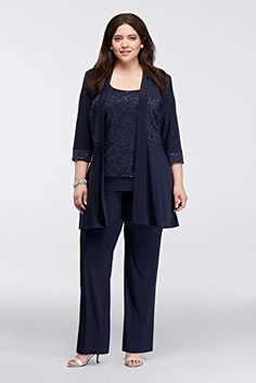 Plus Size Mock Two Piece Lace and Jersey Pant Suit Style ...…