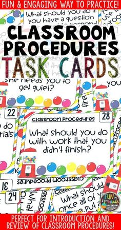 Classroom Procedures Task Cards for Classroom Management Classroom Management Strategies, Classroom Procedures, Classroom Behavior, Classroom Rules, Classroom Activities, Behavior Management, Classroom Ideas, Classroom Organization, Classroom Incentives