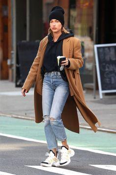 Hailey Baldwin wearing Anine Bing Shane Cashmere Beanie, Danielle Guizio Dg Sweatshirt in Black and Victoria Beckham Resort 2018 Belted Trench Coat