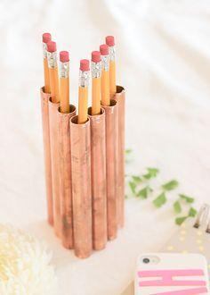 DIY Home Decor: Copper pencil holder