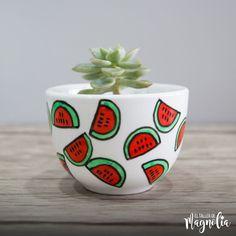 Painted Clay Pots, Painted Flower Pots, Hand Painted Ceramics, House Plants Decor, Plant Decor, Diy Bottle, Bottle Crafts, Cactus Clipart, Watermelon Decor