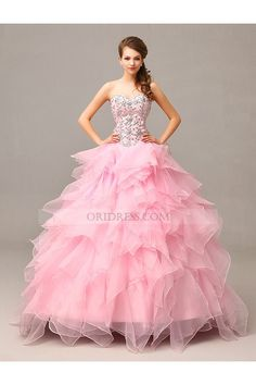 Sweetheart Crystal Organza Court Train Pink Ball Gown Prom Quinceanera Dress  Os0039 4cfca3786848