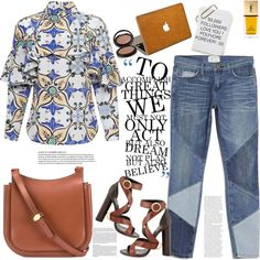 A fashion look from August 2015 featuring Tata Naka blouses, Current/Elliott jeans and Tom Ford sandals. Browse and shop related looks.
