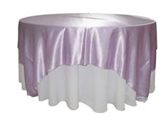 Lilac Satin Table Overlay provided by Waterford Event Rentals.
