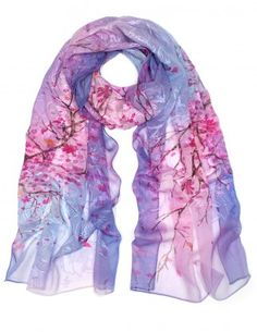 Dahlia Women's 100% Long Sheer Silk Scarf - Embroidered Flower Blossom - Purple
