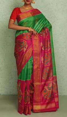 Amedha Leaf Green With Contrast Ikat Ornate Tissue Gold Border Pure Patola Silk Saree