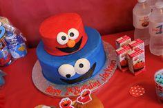Sesame Street Cake with Elmo and Cookie Monster #sesamestreet #cake